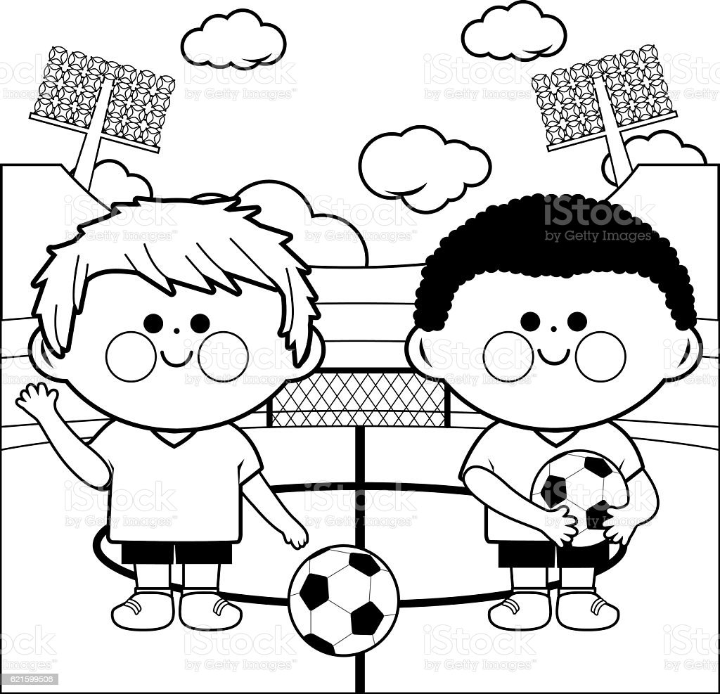 children soccer players in a stadium coloring page stock vector