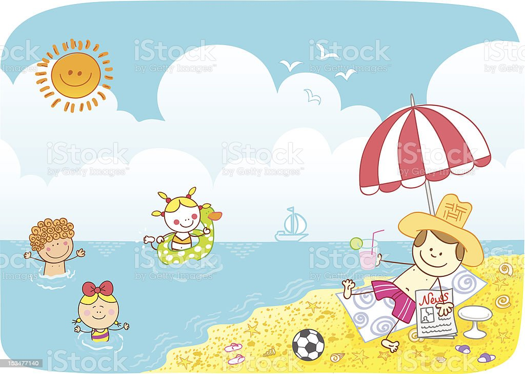 children swiming in sea and farher watching at beach cartoon royalty-free stock vector art