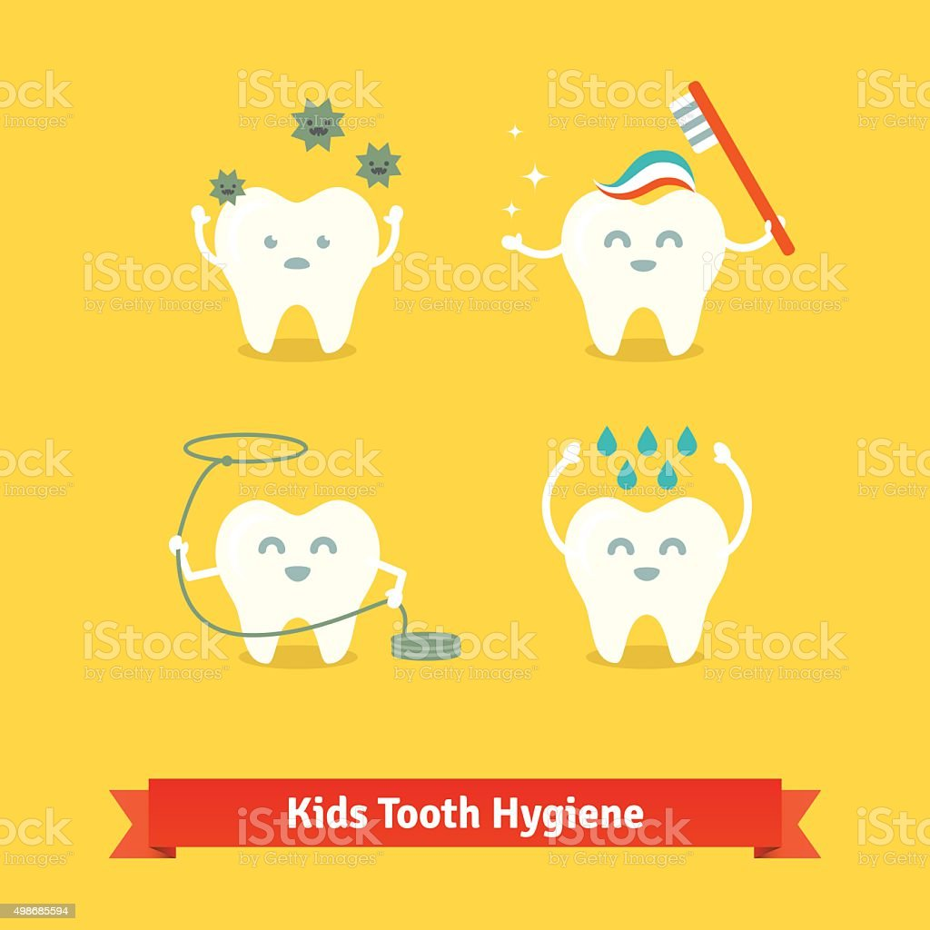 Children teeth care and hygiene vector art illustration