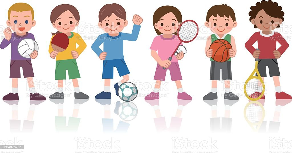 Children to a variety of sports vector art illustration