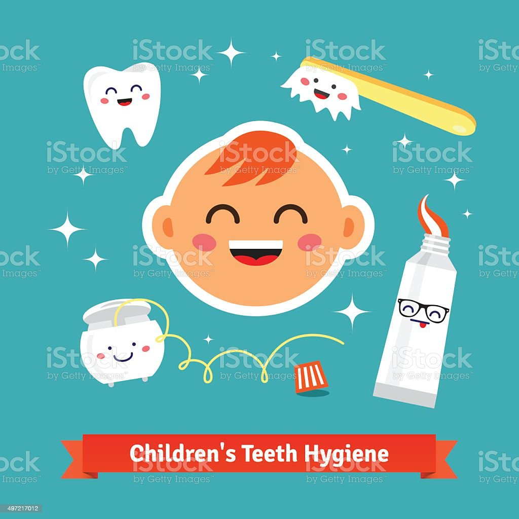 Children tooth hygiene icon set vector art illustration