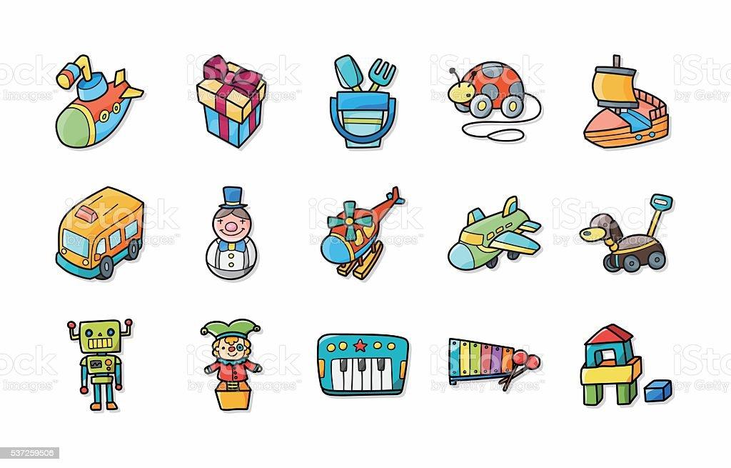 Children toys icons set,eps10 vector art illustration