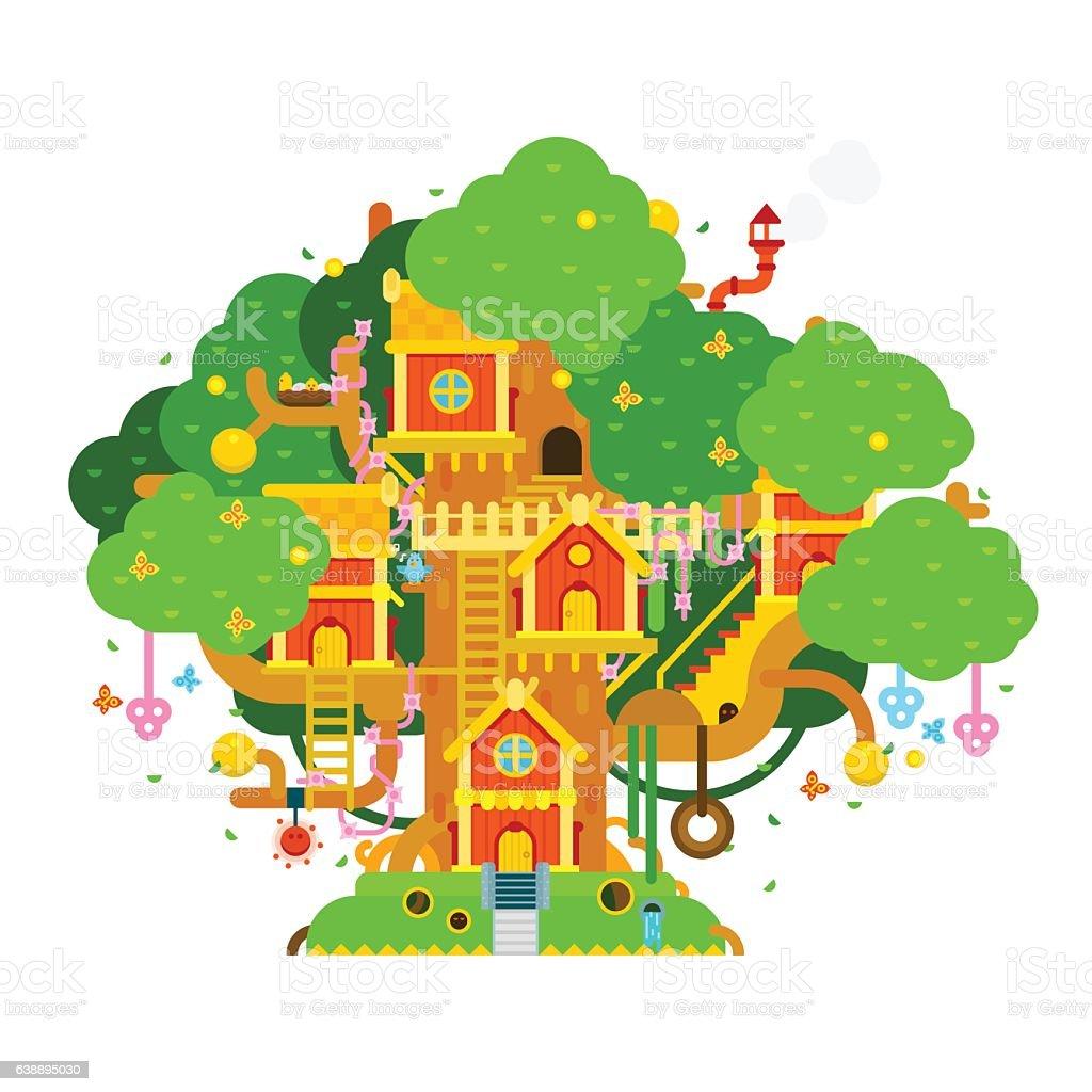 Children treehouse colorful vector illustration vector art illustration