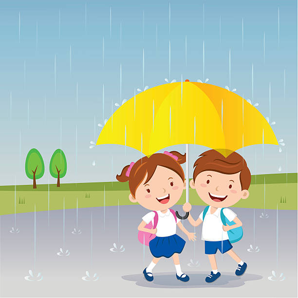 Cartoon Of Young Smiling Girl Holding Umbrella Clip Art ...