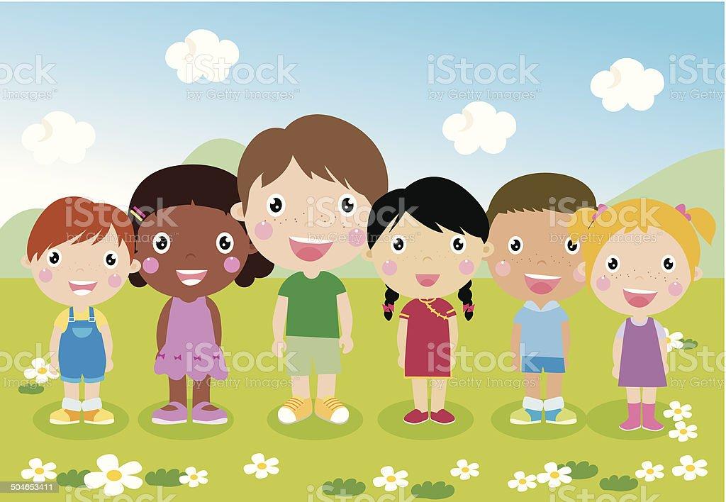 Children vector art illustration