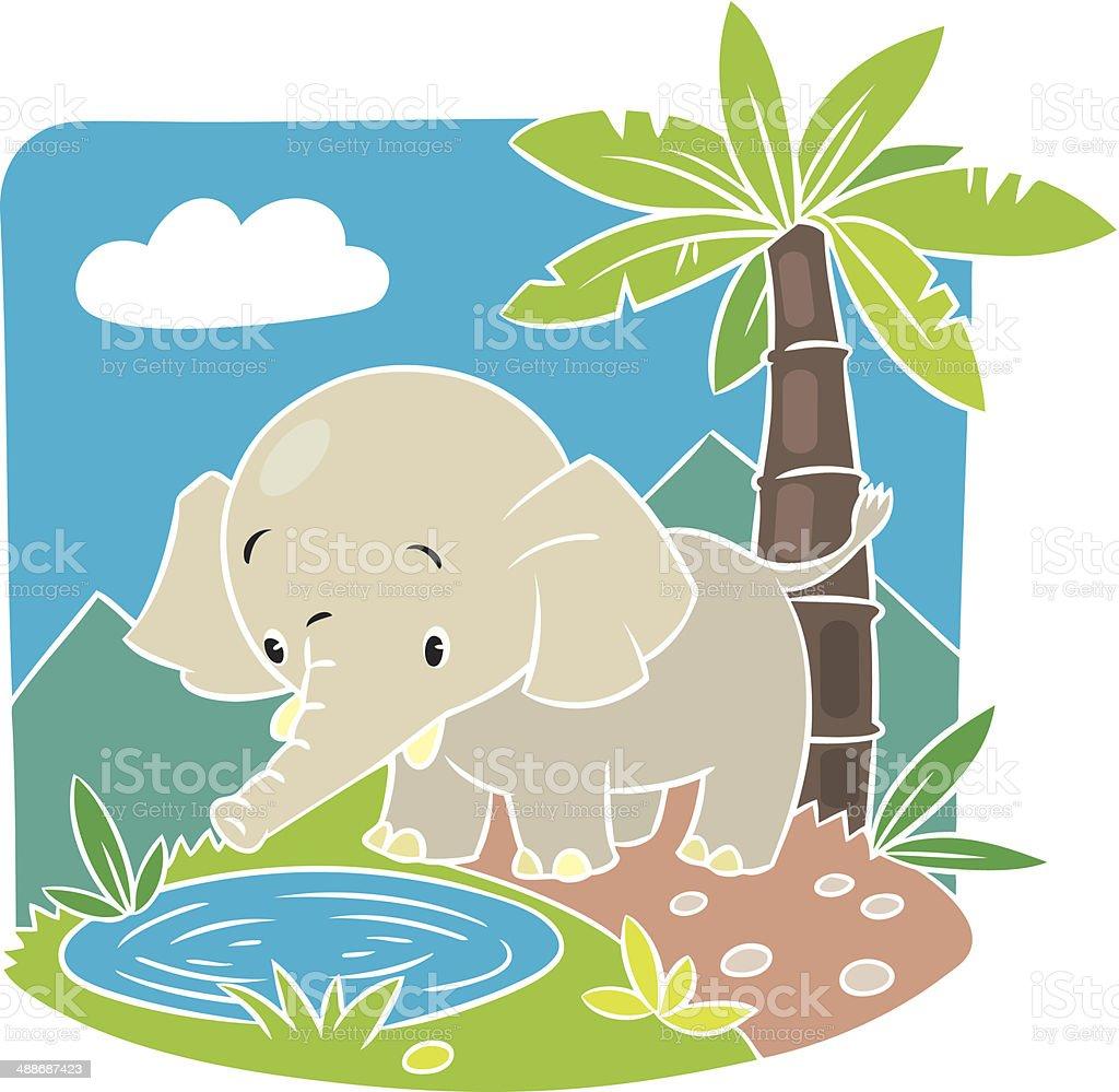 Children vector illustration of elephant. royalty-free stock vector art