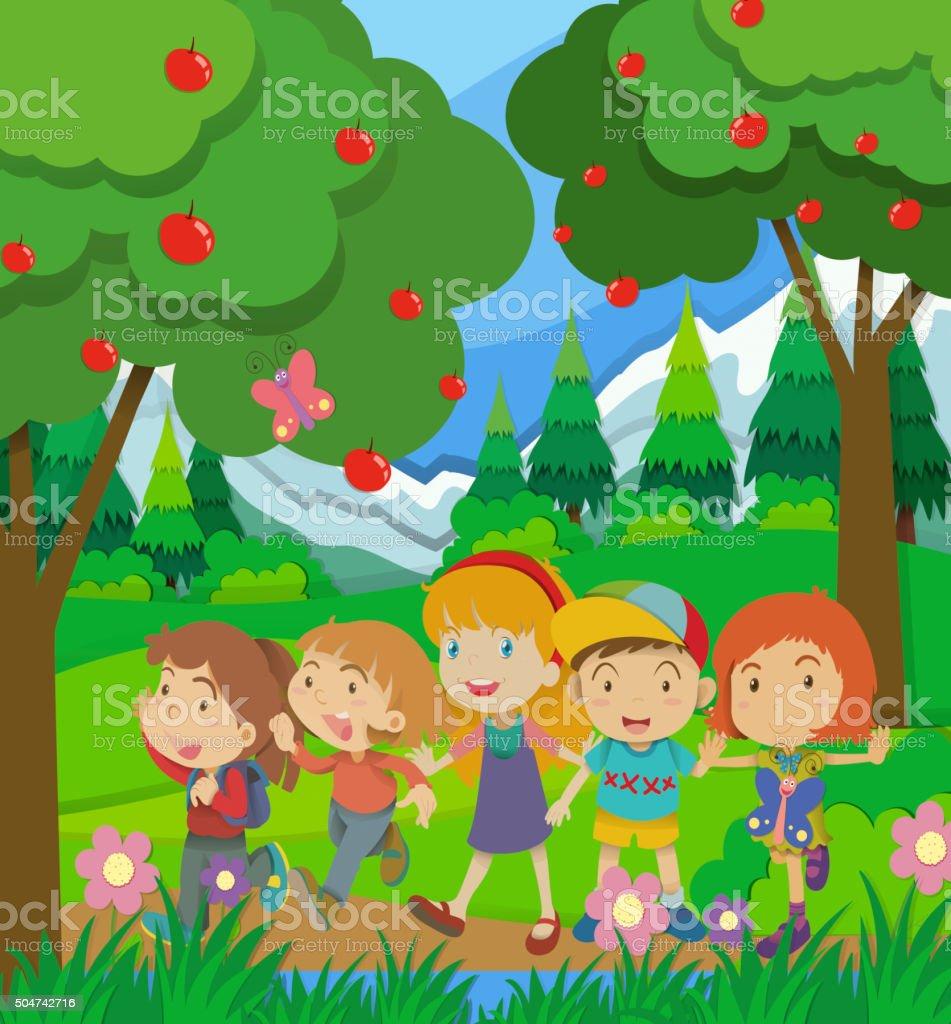 Children walking in the forest vector art illustration