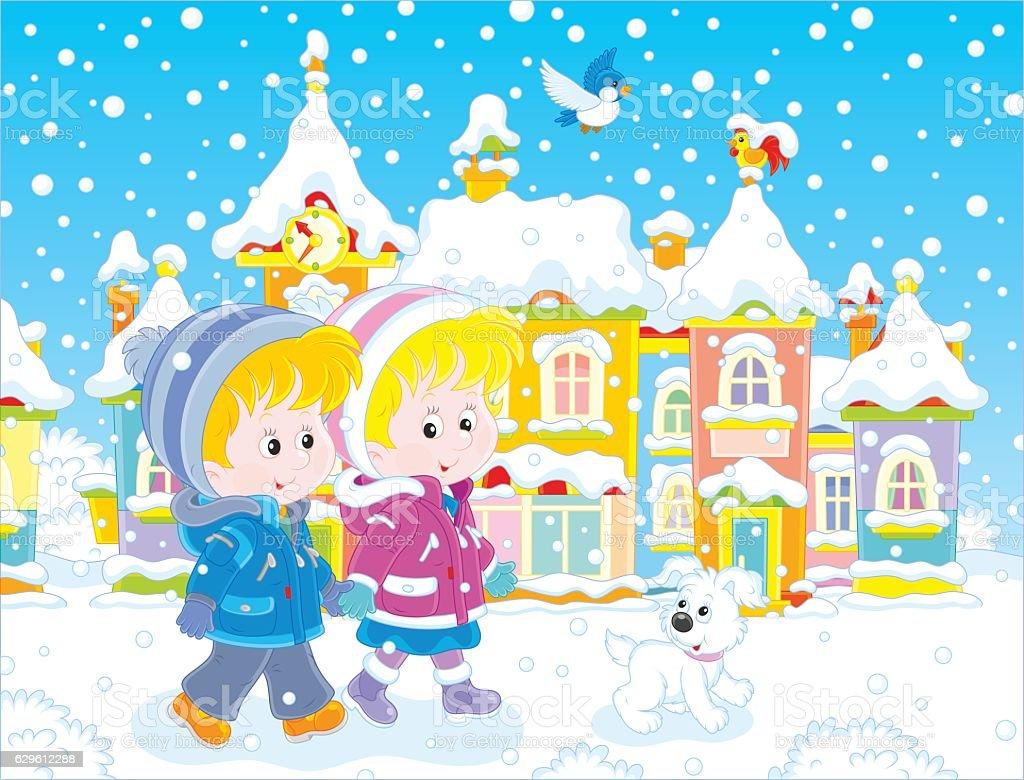 Children walking through a winter town vector art illustration