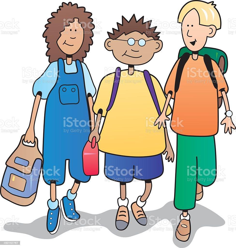 children walking to school royalty-free stock vector art