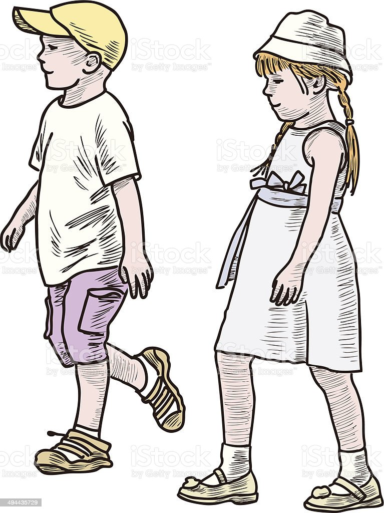 children walking royalty-free stock vector art