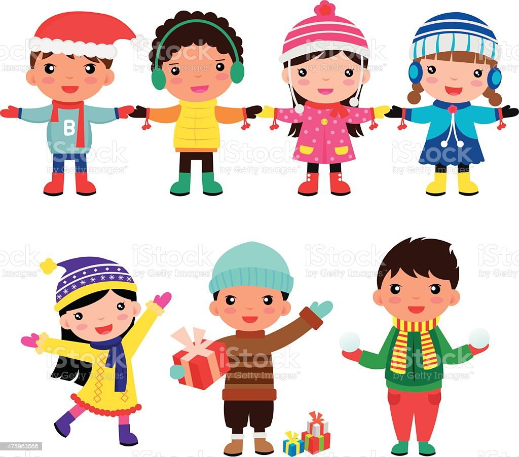 children winter boys and girls royalty-free stock vector art