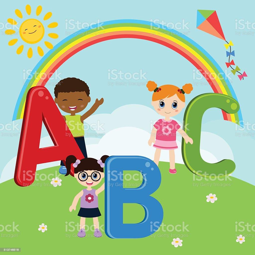 Children with ABC vector art illustration
