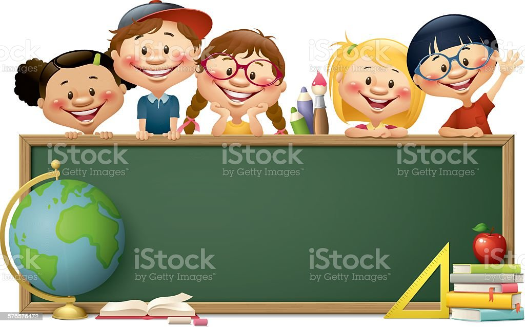 children with blackboard - back to school vector art illustration