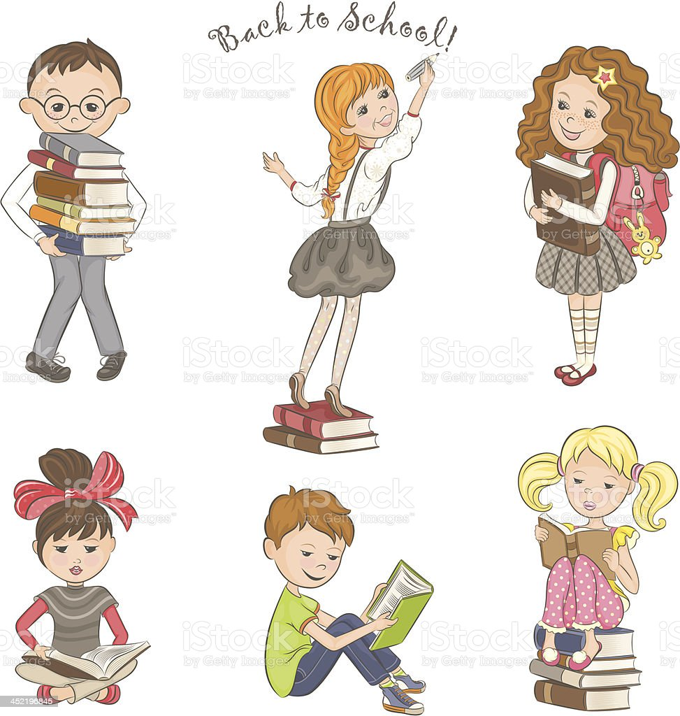 Children with books. royalty-free stock vector art