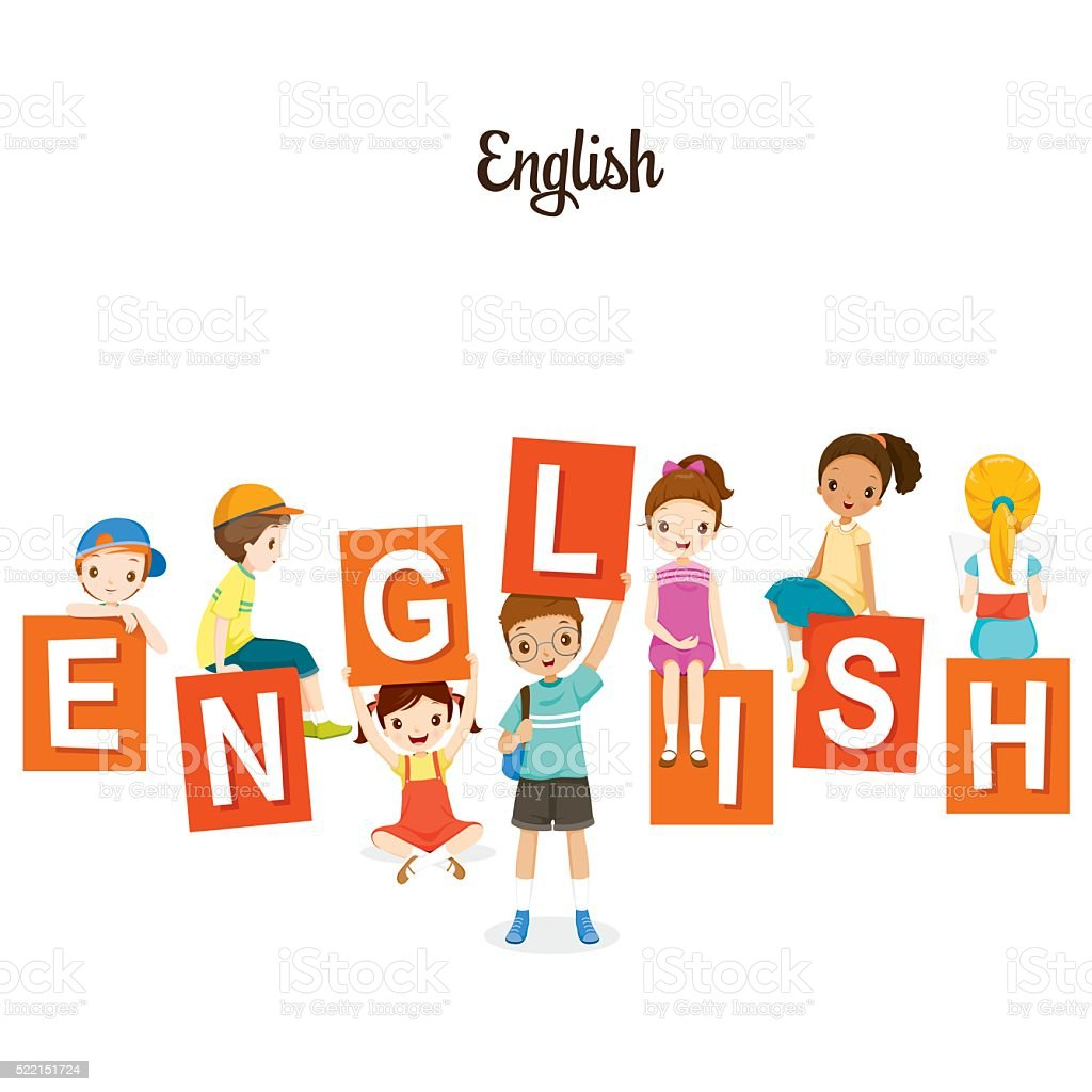 Children With English Alphabets vector art illustration
