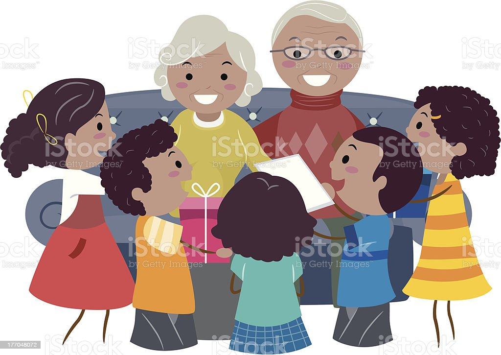 Children With Grandparents royalty-free stock vector art