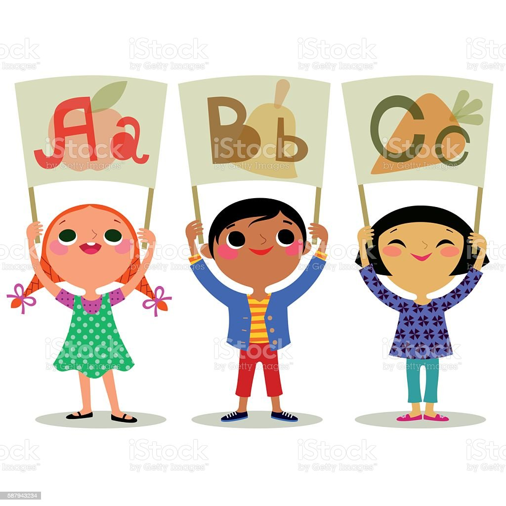 Children with Letters ‪Broadsheet‬. vector art illustration