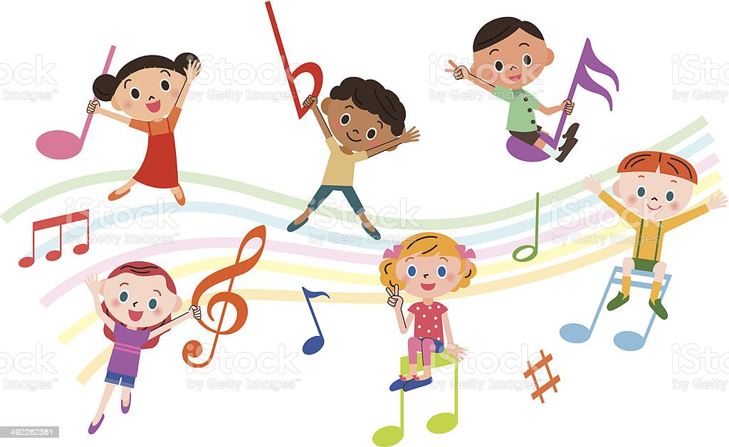 children with music notes vector art illustration