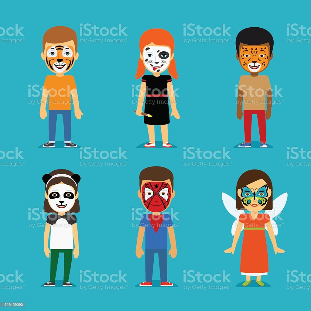 Children with painted faces vector art illustration