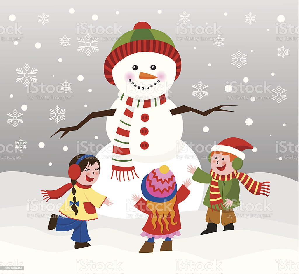 Children with snowman royalty-free stock vector art