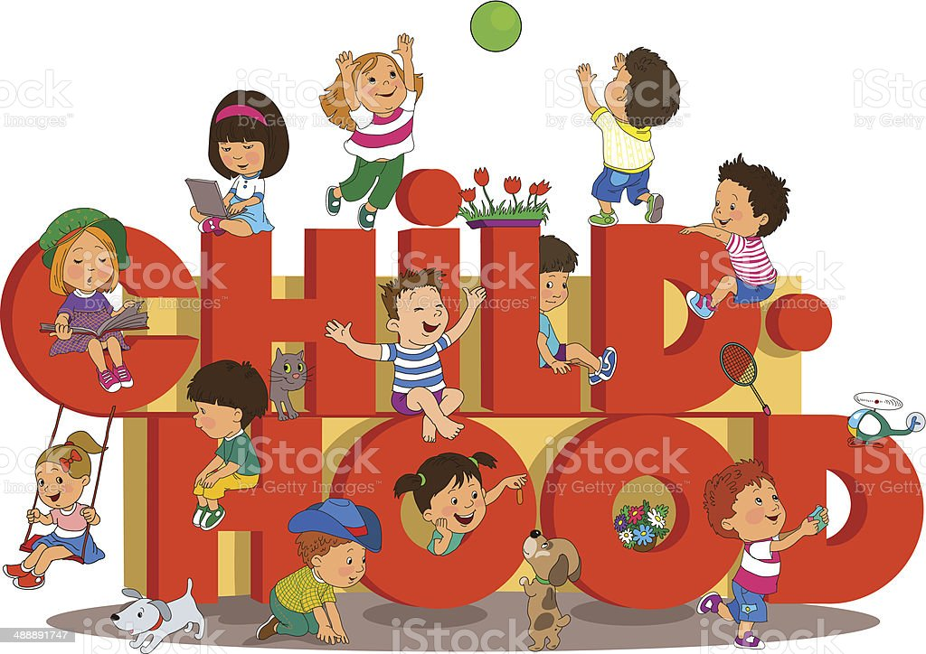 children_childhood vector art illustration