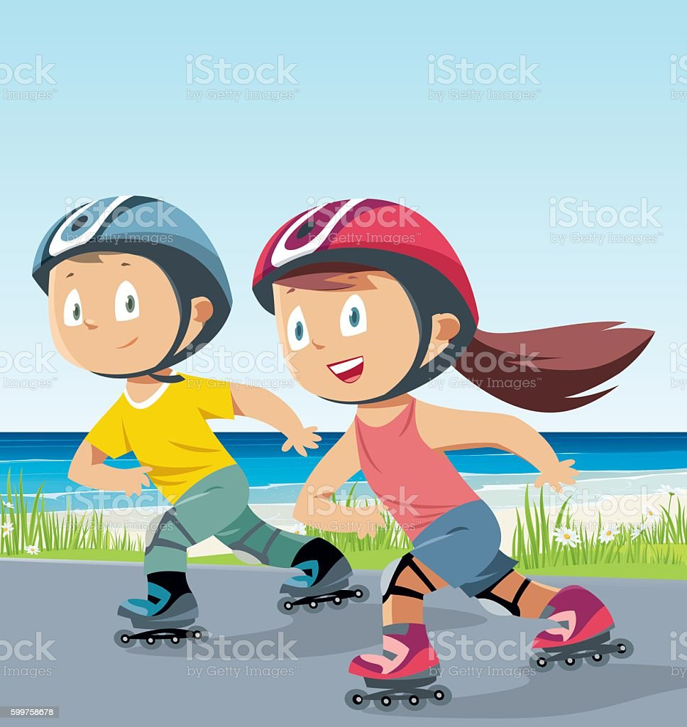 children,boy and girl rollerblading vector art illustration