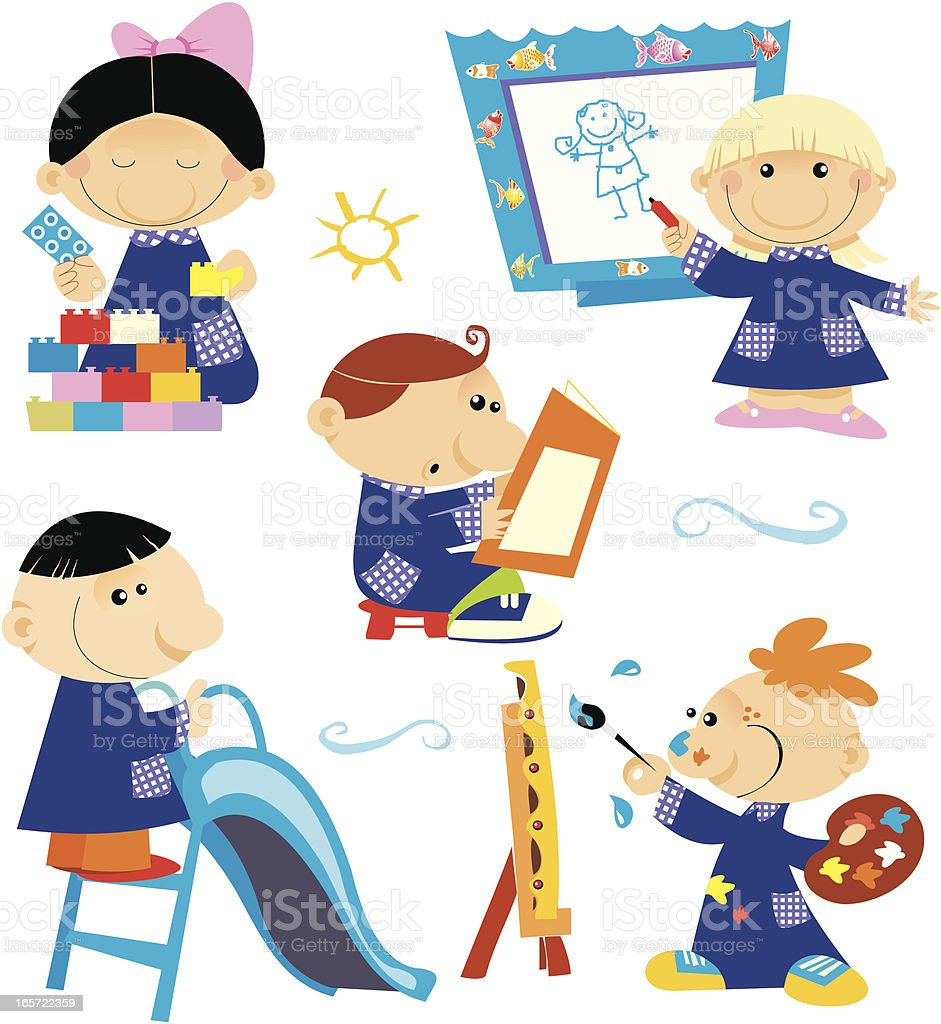childrens at the school royalty-free stock vector art