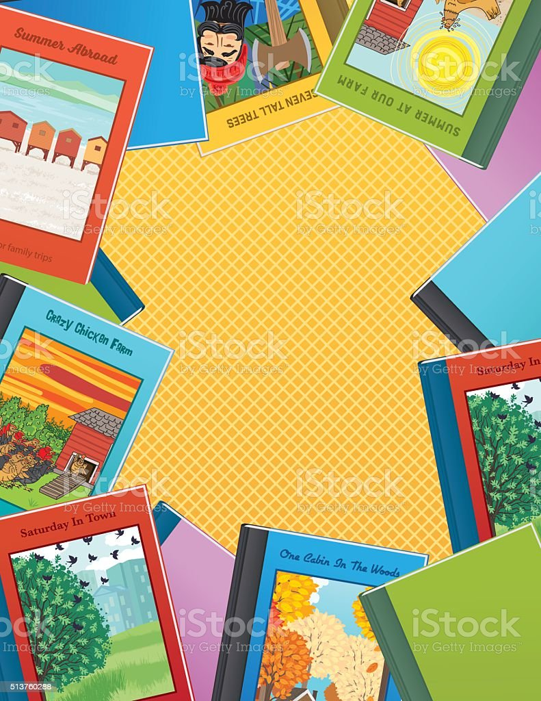 Childrens Books Border Background vector art illustration
