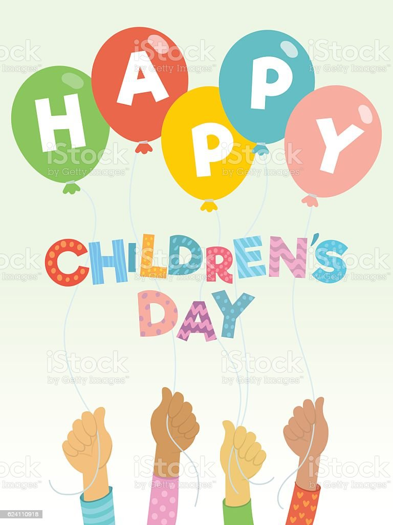 Children's day greeting card vector art illustration