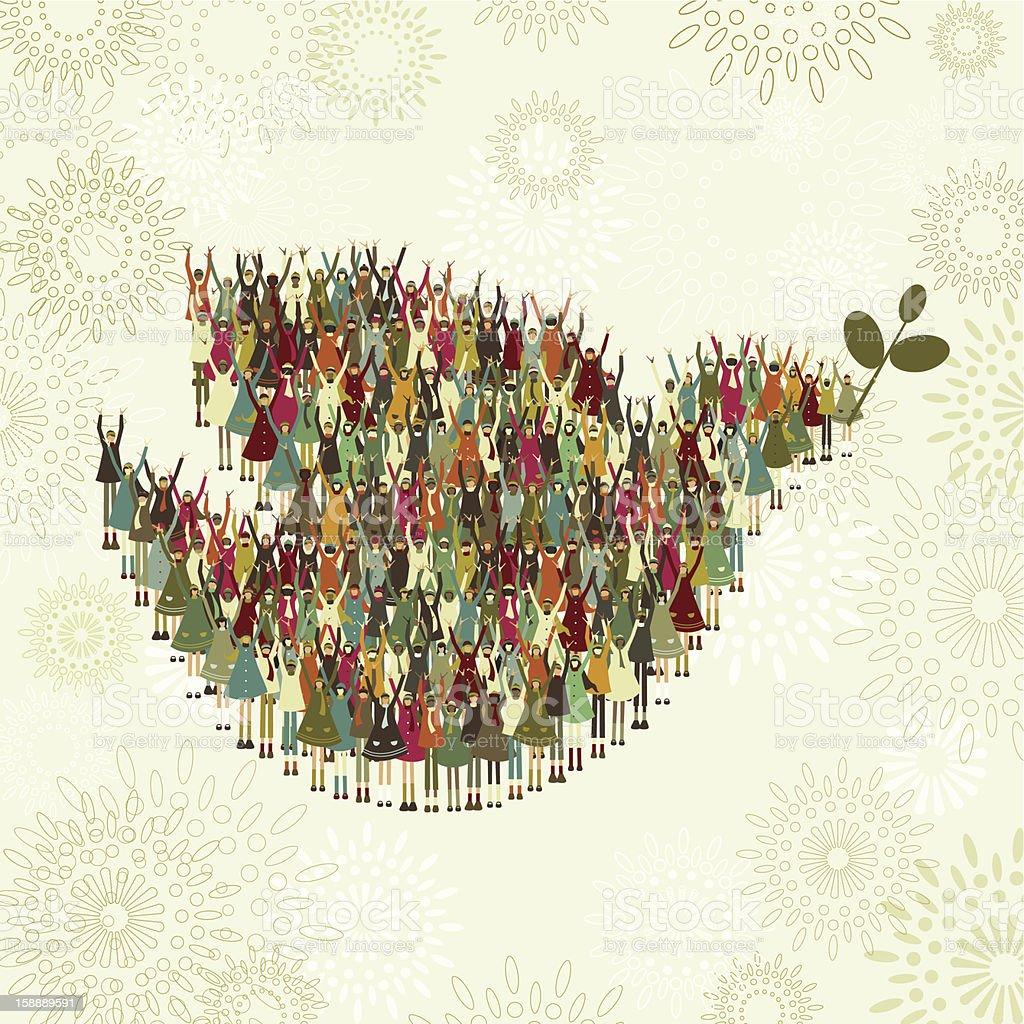 Children's dove of peace vector art illustration