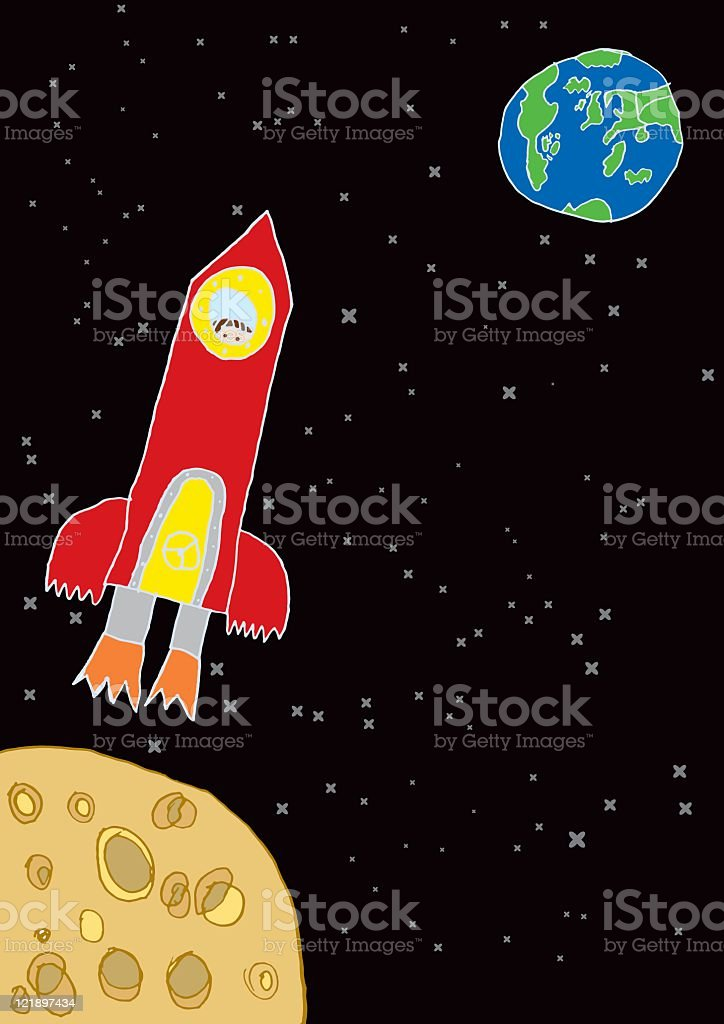 Childrens drawing of a rocket ship royalty-free stock vector art