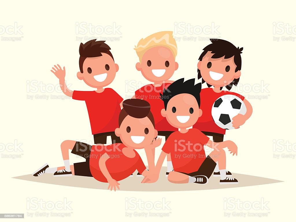 Children's football team. Portrait of young soccer players. vector art illustration