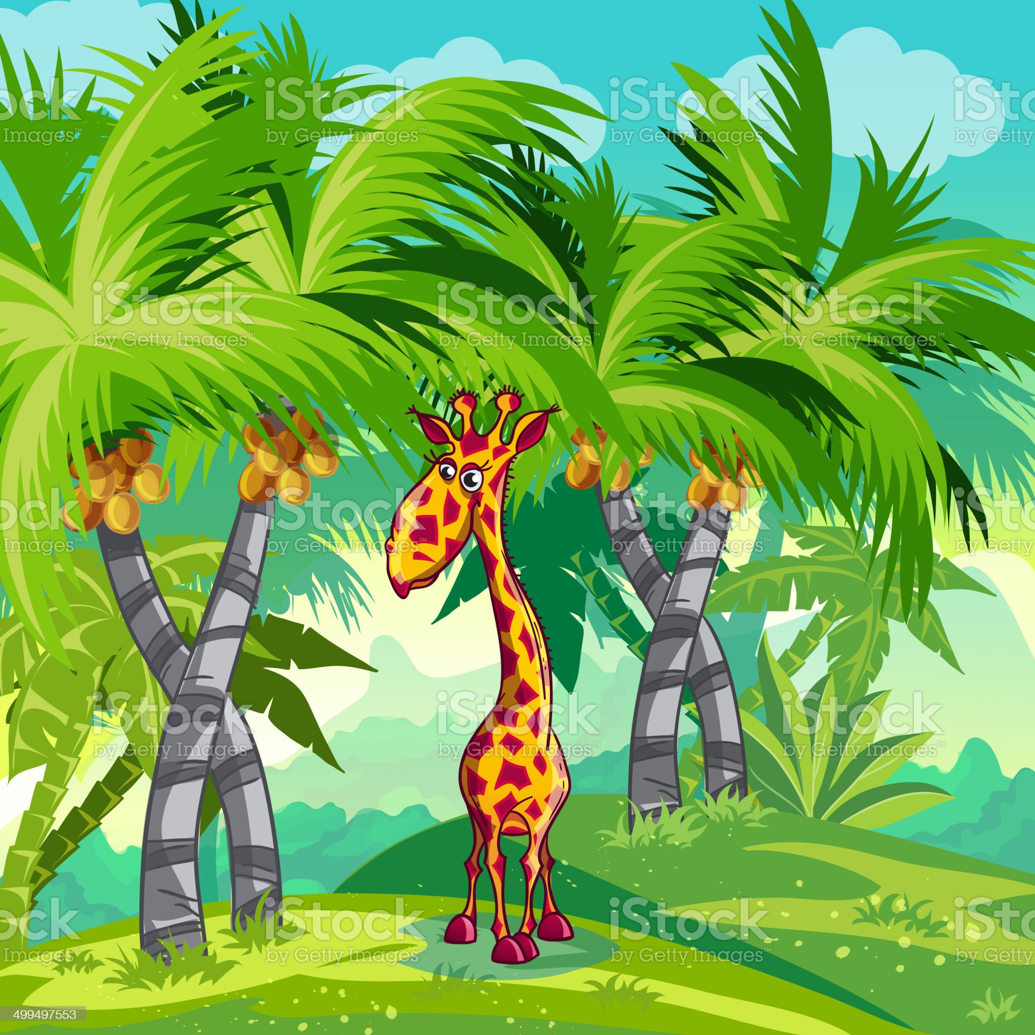 Children's illustration of the jungle with a giraffe royalty-free stock vector art