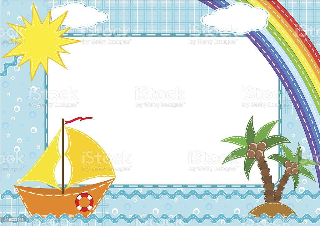 Children's photo framework. Ship. royalty-free stock vector art