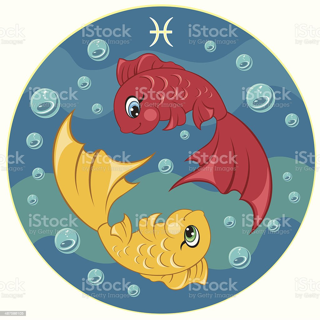 Children's Pisces zodiac sign vector art illustration
