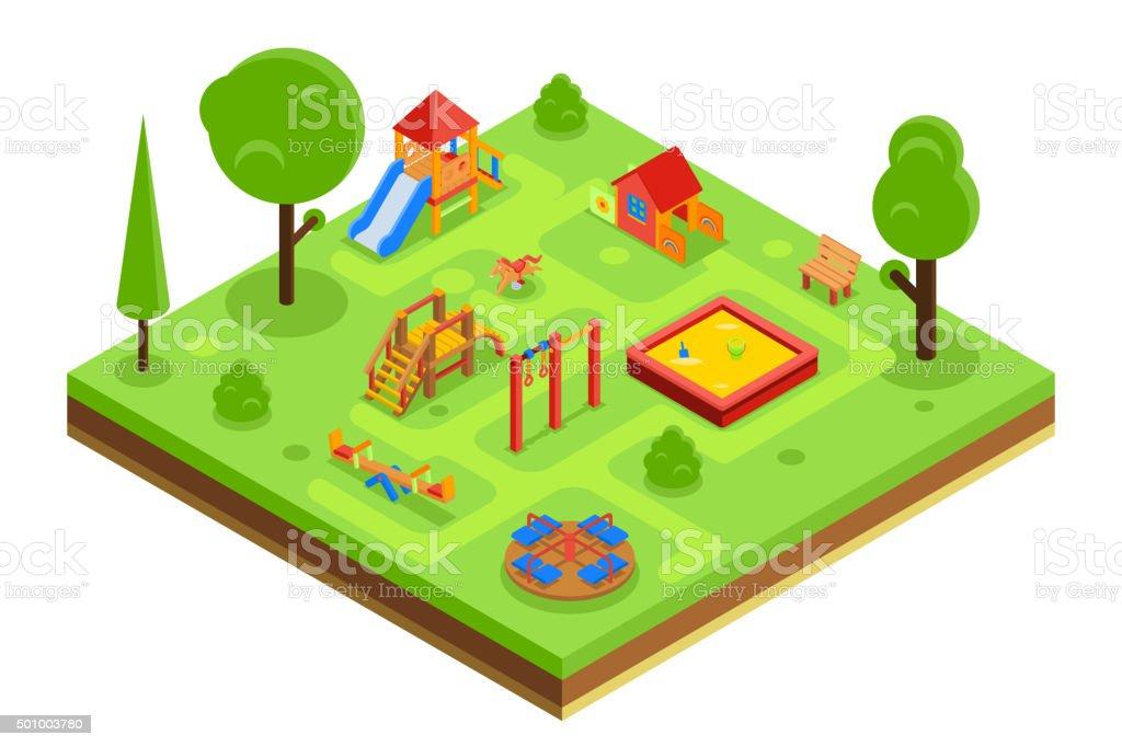 el patio de juegos para nios en isomtrica estilo plano tm libre de derechos