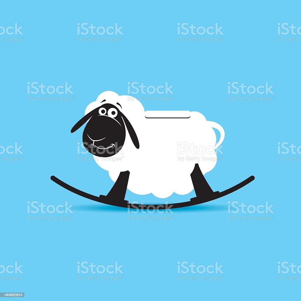 Children`s rocking toy. Sheep. vector art illustration