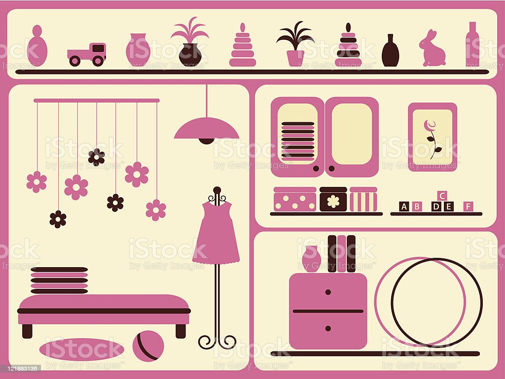 Children's room interior and objects set. royalty-free stock vector art