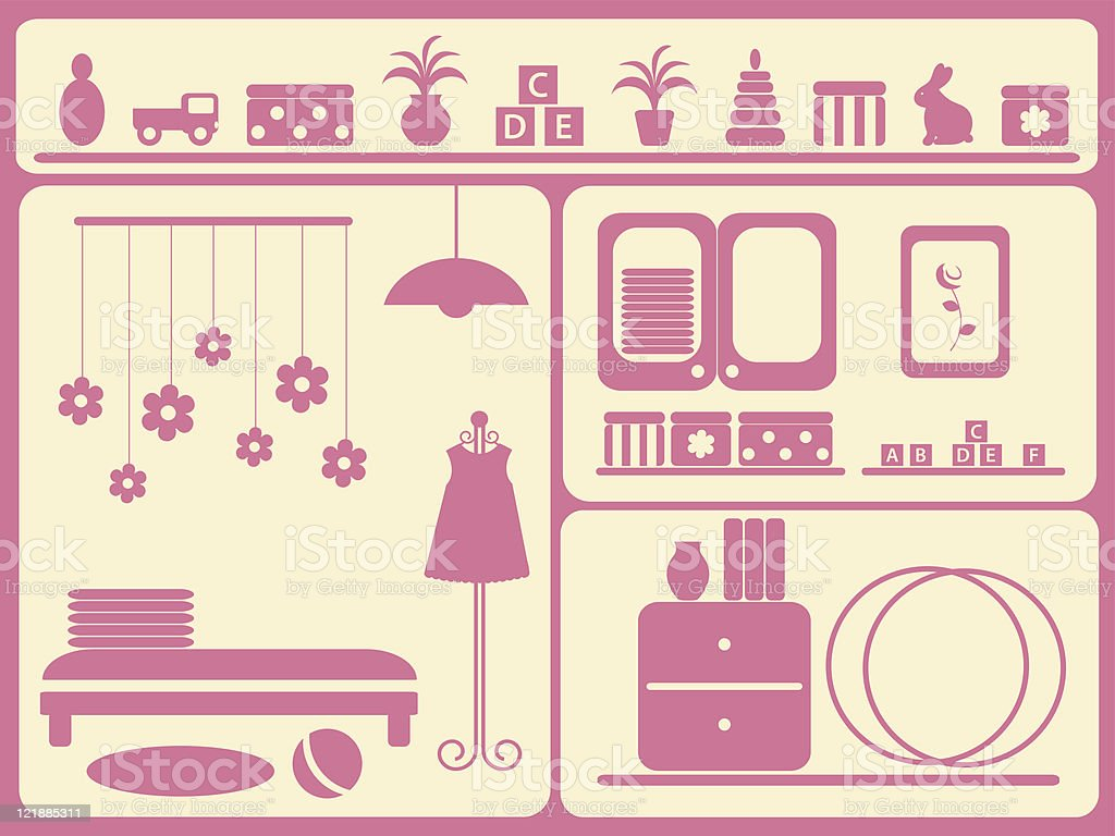 Children's room interior and objects set. vector art illustration
