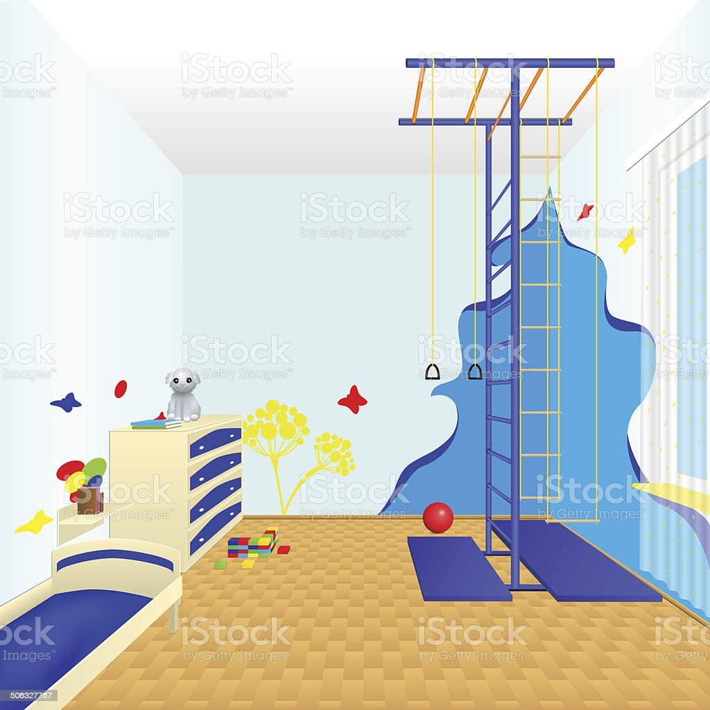 children's room with a bed and chest of drawers royalty-free stock vector art