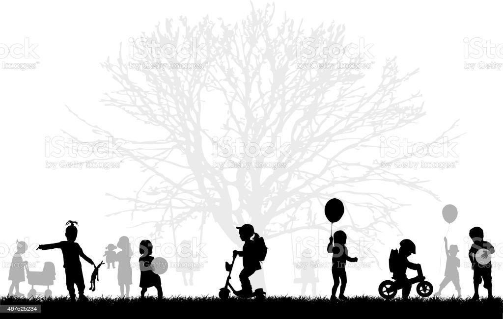 Childrens silhouettes vector art illustration