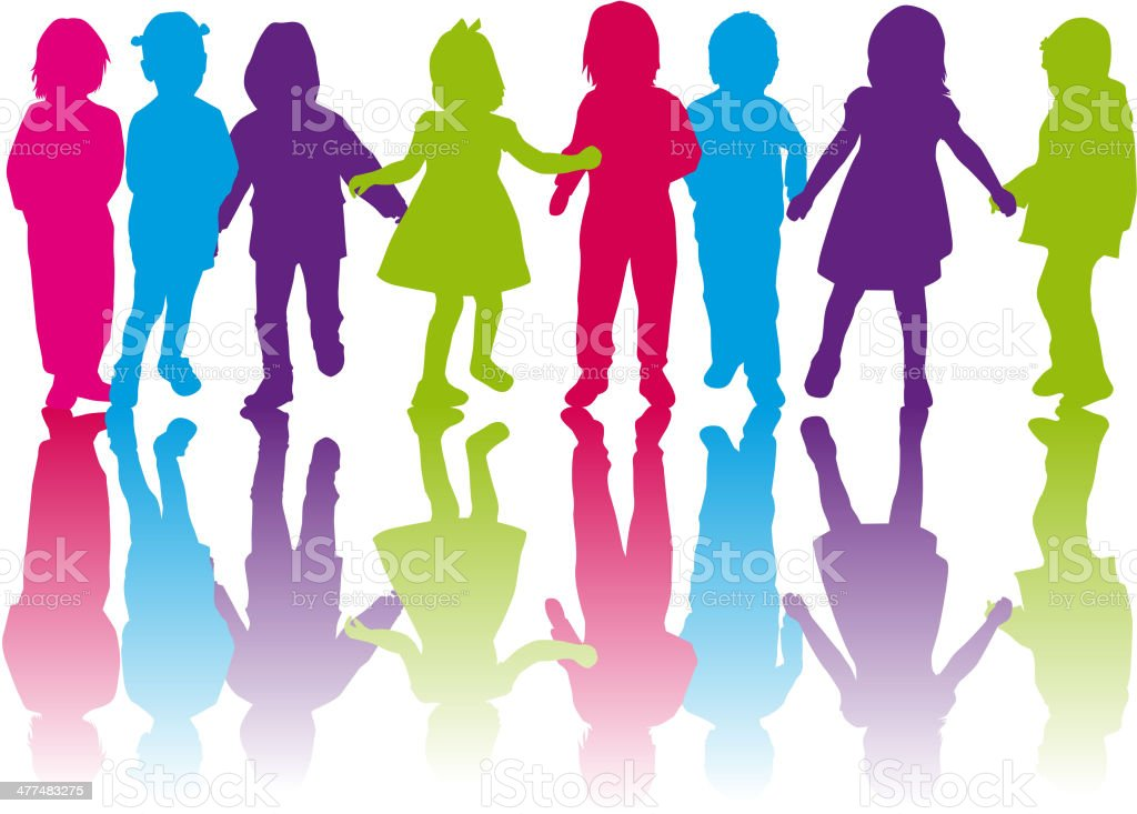 Childrens silhouettes royalty-free stock vector art
