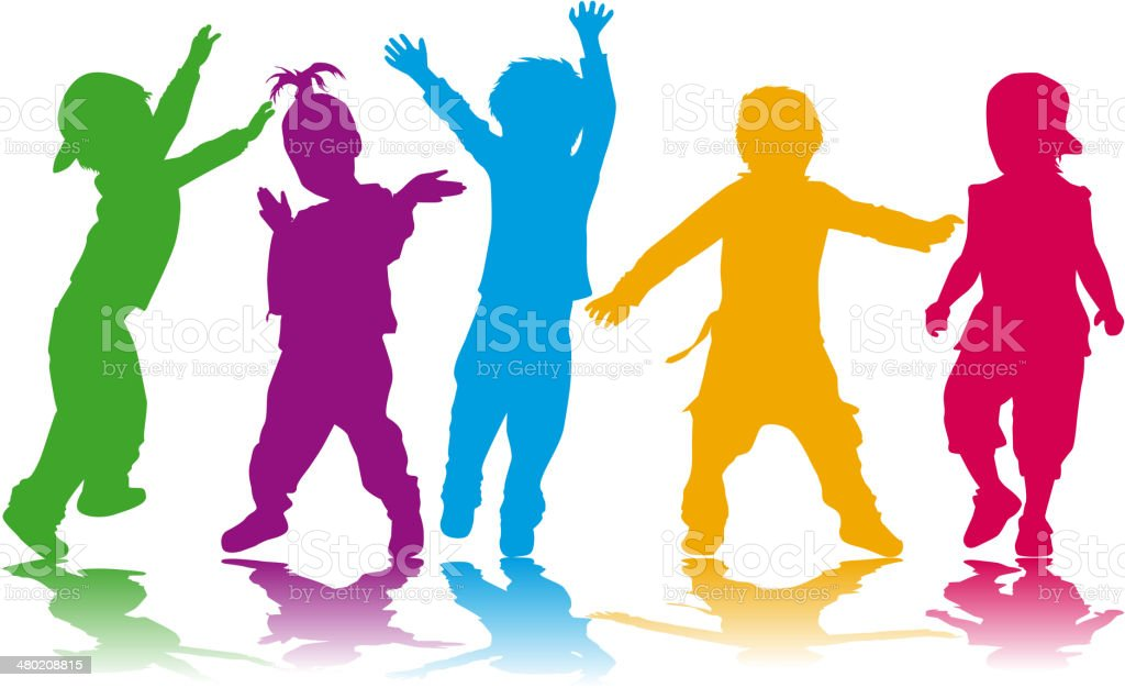 Childrens silhouettes vector art illustration