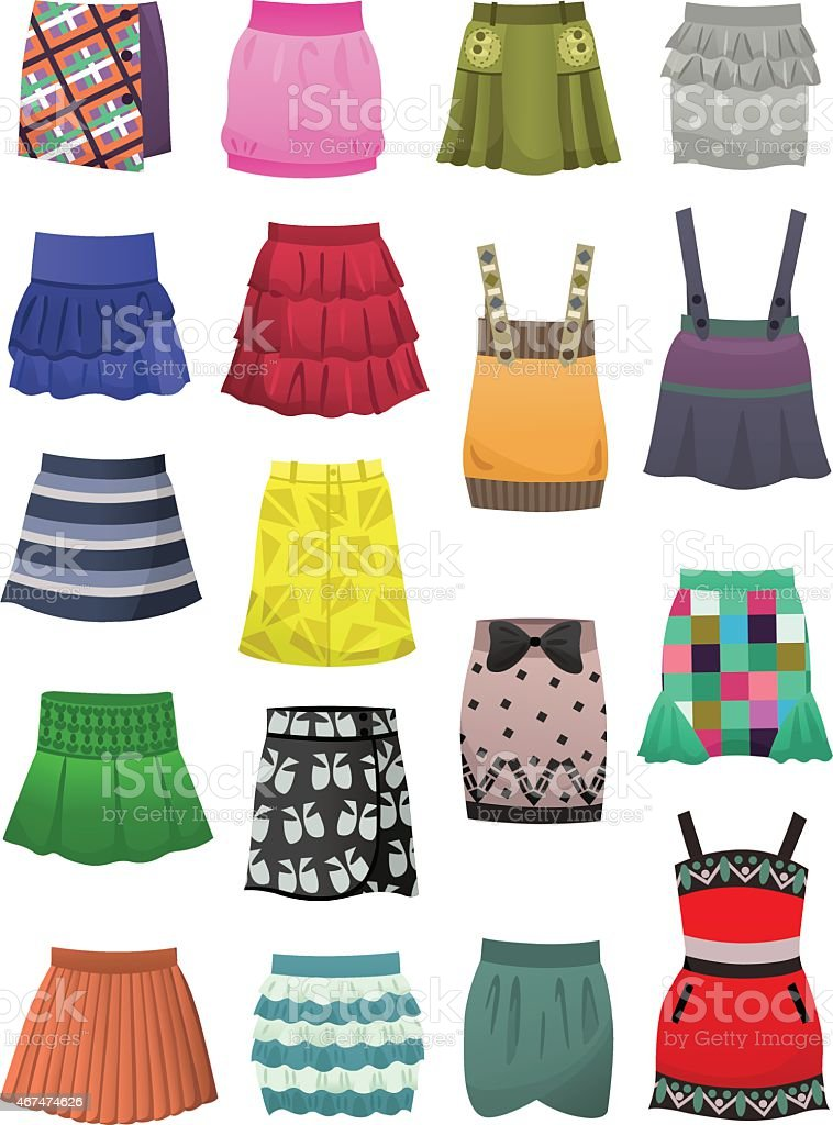 Children's skirts and sundresses vector art illustration