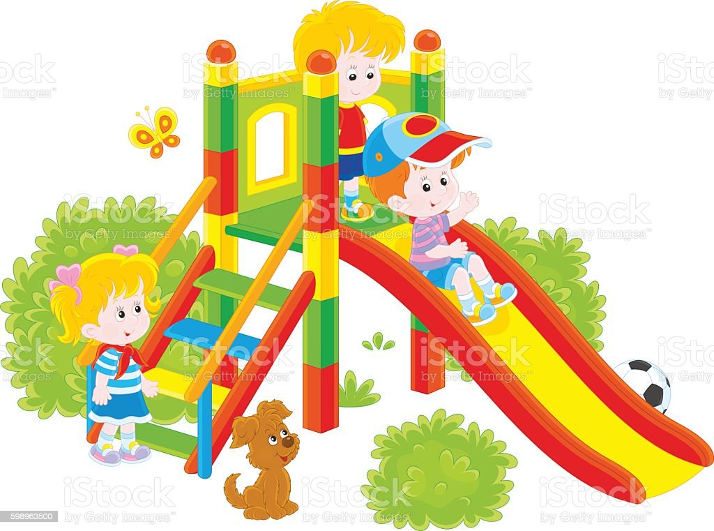 Children's slide in a park vector art illustration