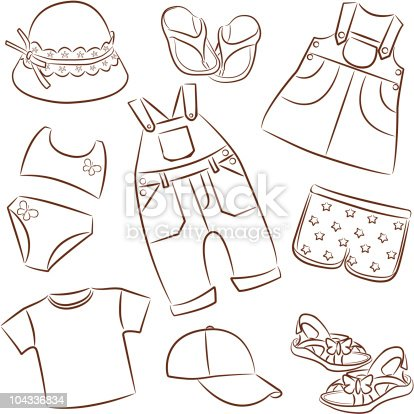 Colouring Pages Summer Clothes Childrens Stock Vector Art 104336834 IStock