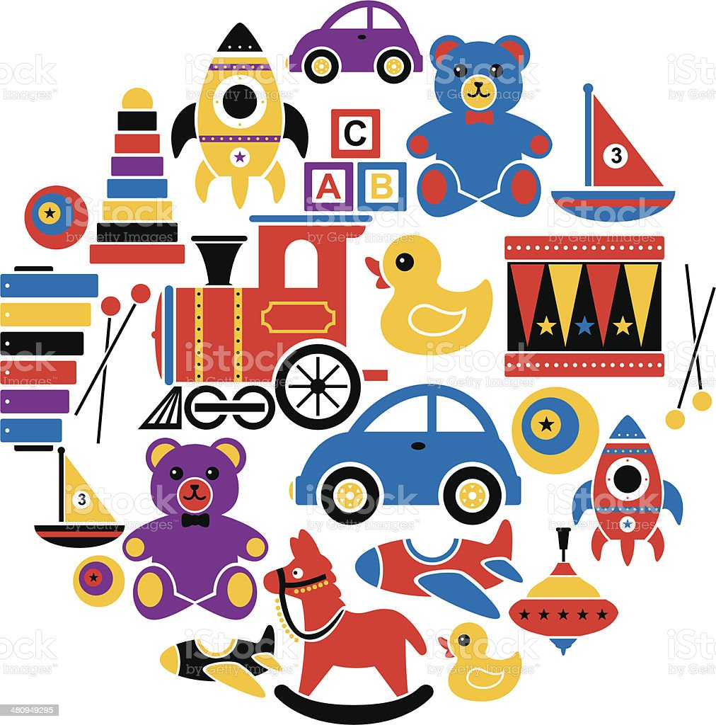 Children's Toys Icon Set vector art illustration