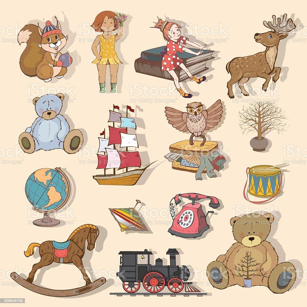 children's toys vector art illustration