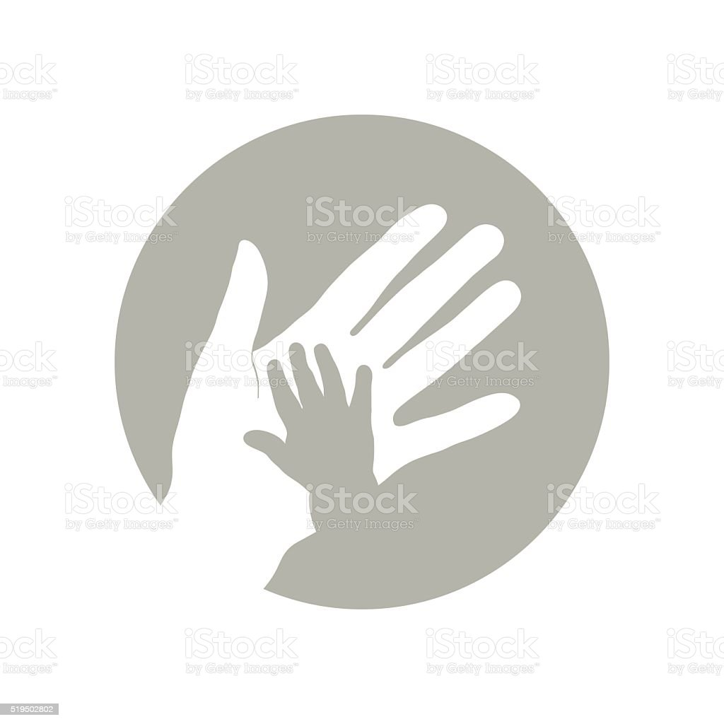 Child's and mother's hand. vector art illustration
