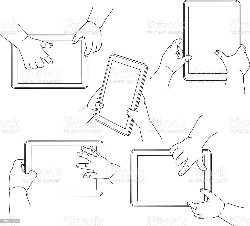 Mãos de criança segurando um tablet, Ilustração vetorial vetor e ilustração royalty-free royalty-free